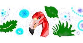 Flamingo drawing by kari