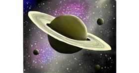 Saturn drawing by Mitzi