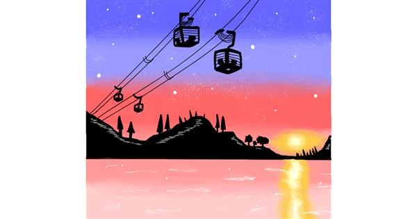 Cable car drawing by Holy Kirbo