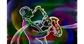 Drawing of Saxophone by GJP
