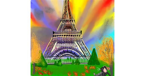 Eiffel Tower drawing by Gzell
