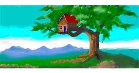 Drawing of Treehouse by Debidolittle