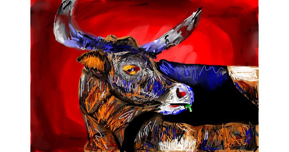 Bull drawing by Soaring Sunshine