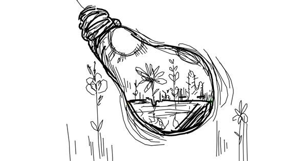Light bulb drawing by egg