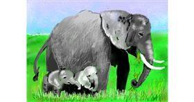 Elephant drawing by SAM AKA MARGARET 🙄
