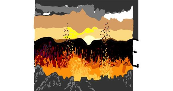 Volcano drawing by Geo-Pebbles