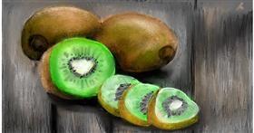 Drawing of Kiwi fruit by Soaring Sunshine