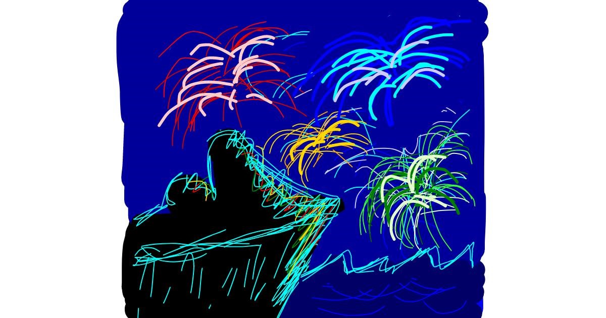 Fireworks drawing by Rebecca