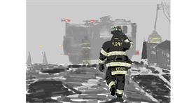 Firefighter drawing by teidolo