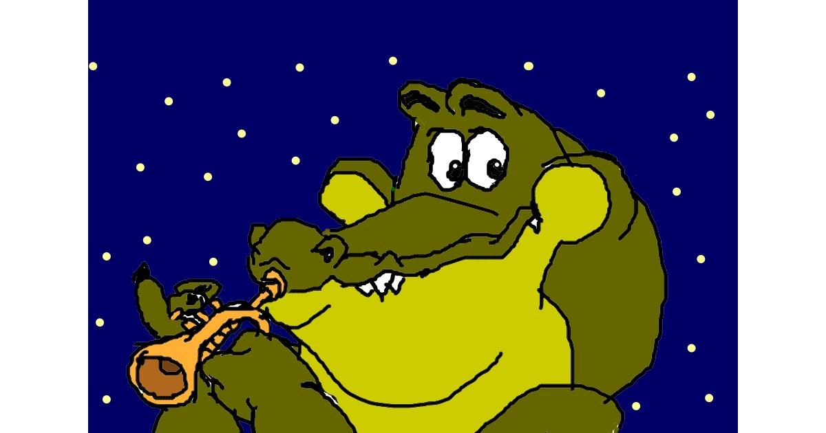 Alligator drawing by Haku