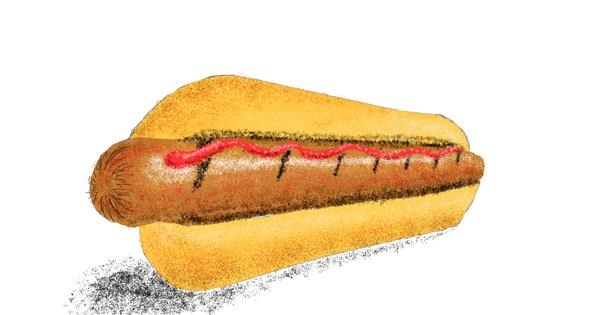 Hotdog drawing by Sam