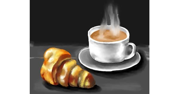 Croissant drawing by Cec
