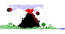 Volcano drawing by Arrow
