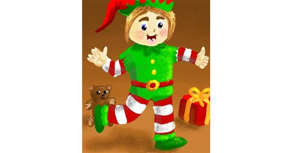 Christmas elf drawing by Thomas