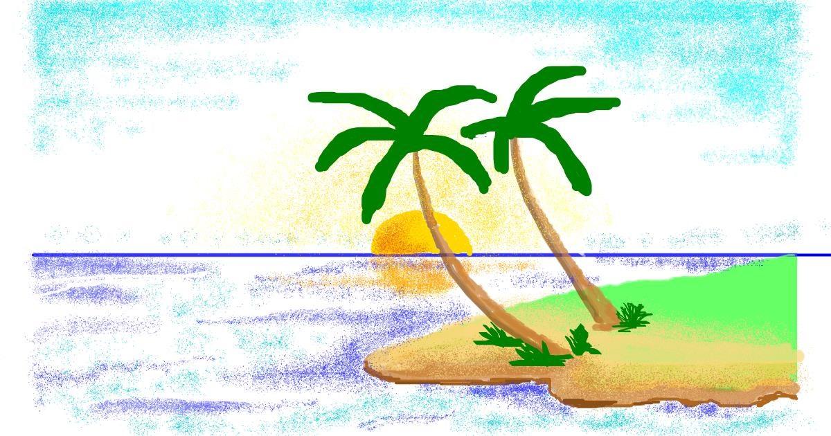Island drawing by TRIPPYHIPPEX