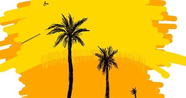 Palm tree drawing by Kera