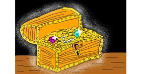 Treasure chest drawing by Ingrid