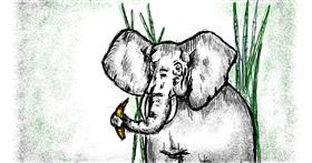 Elephant drawing by Babyone