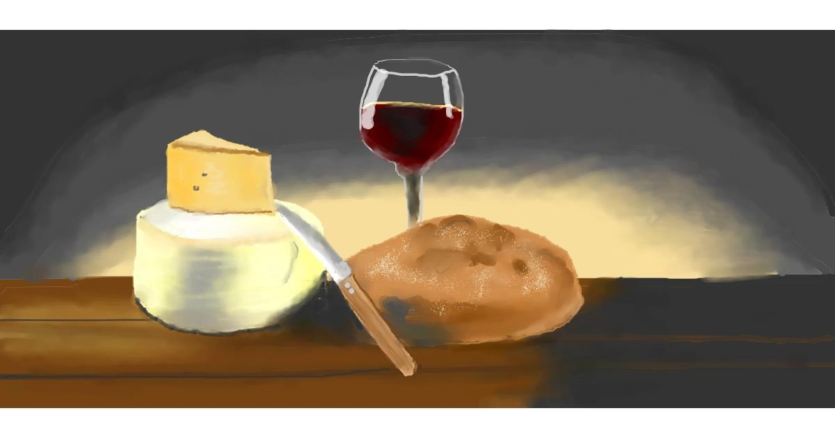 Drawing of Cheese by Pinky