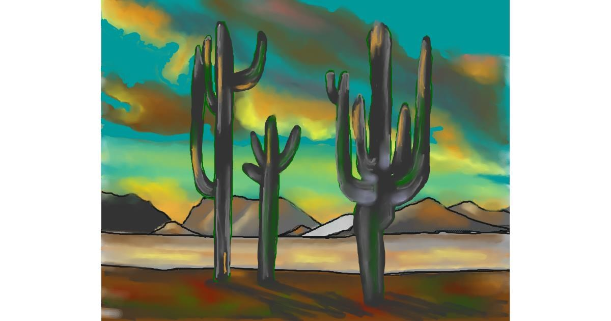 Cactus drawing by Cec