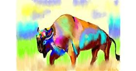 Bison drawing by Deki