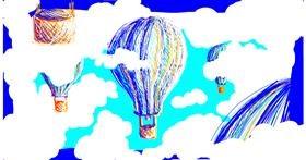 Drawing of Hot air balloon by Dugan