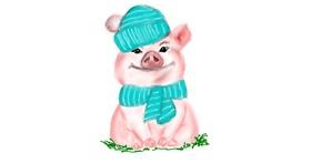 Drawing of Pig by ELLE