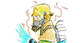 Firefighter drawing by Artemis