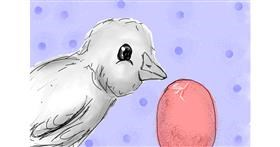 Easter chick drawing by Milk