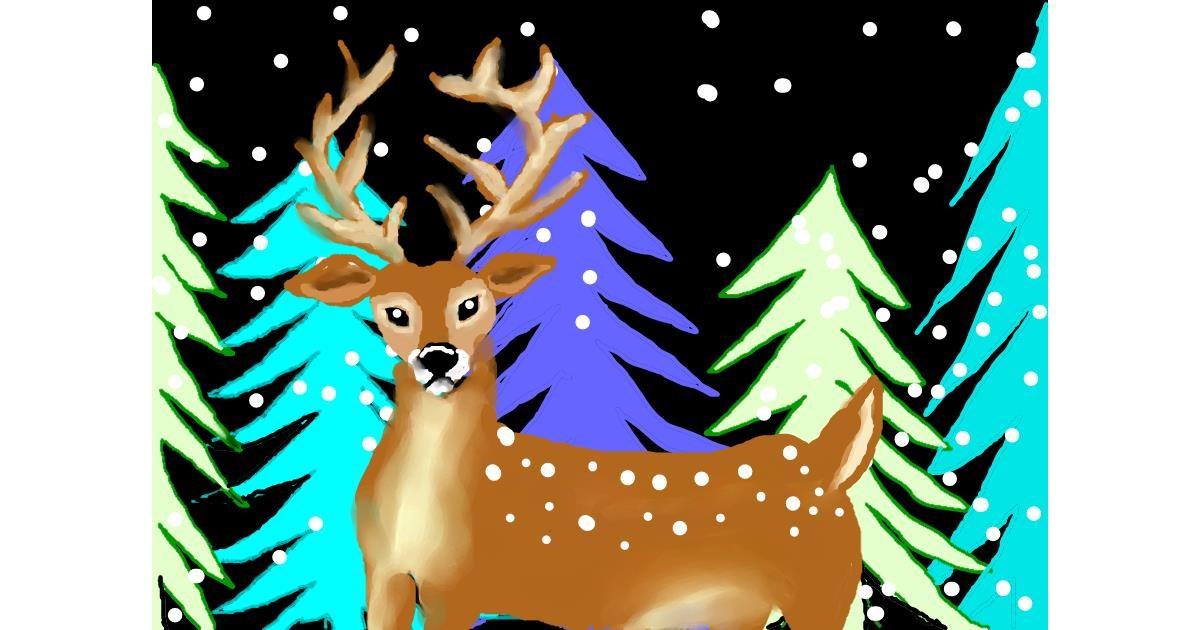 Drawing of Reindeer by Debidolittle