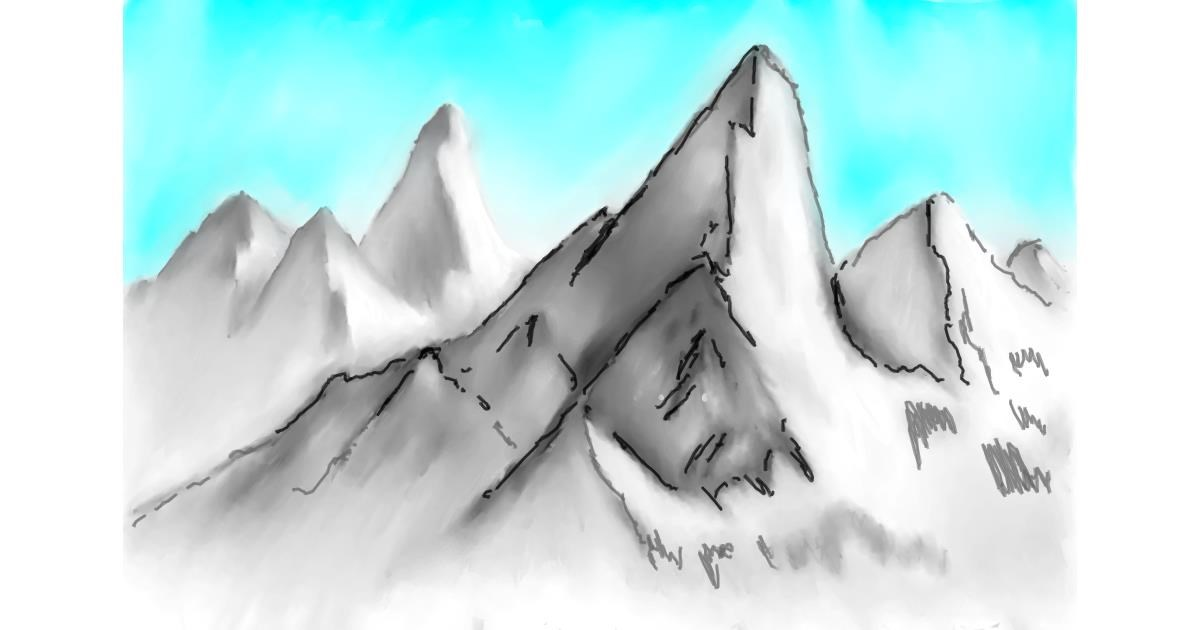 Drawing of Mountain by Wizard