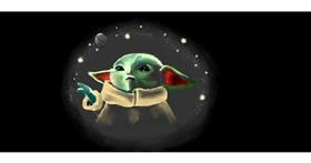 Baby Yoda drawing by Pinky