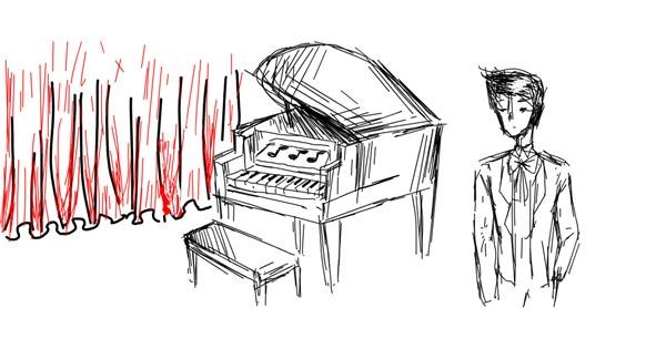 Piano drawing by fizhii