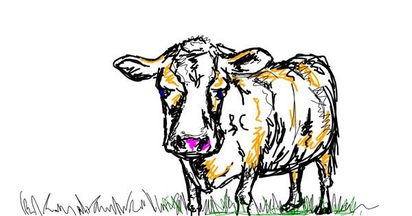 Cow drawing by yellowmarshmallow
