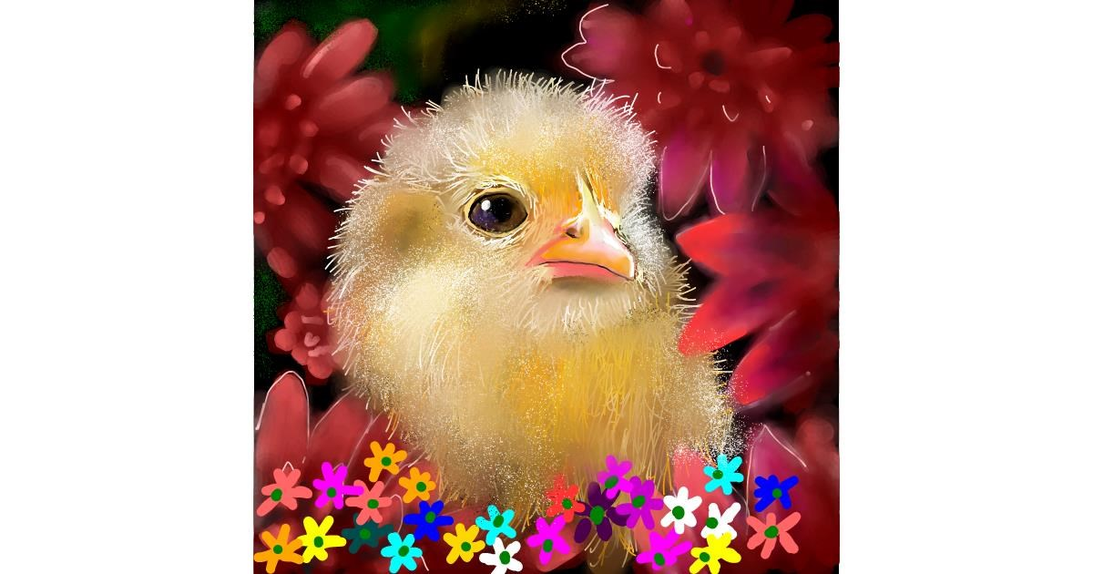 Easter chick drawing by Leah
