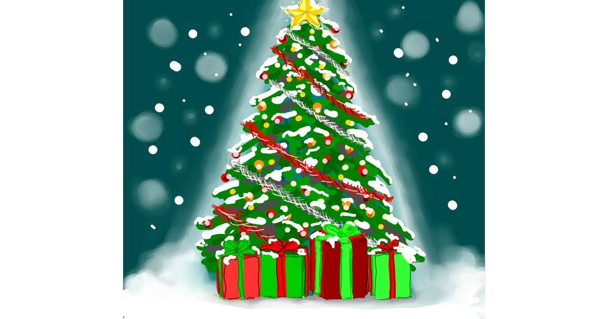 Christmas tree drawing by Joze