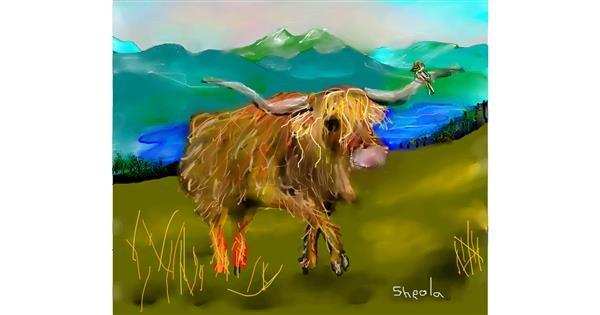 Bull drawing by Kai 🐾