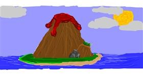 Volcano drawing by Bob Ross lives on!