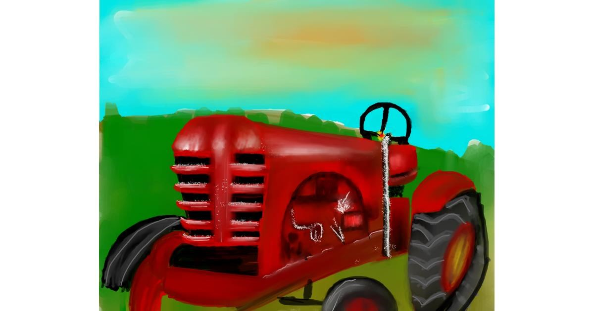 Tractor drawing by Mitzi
