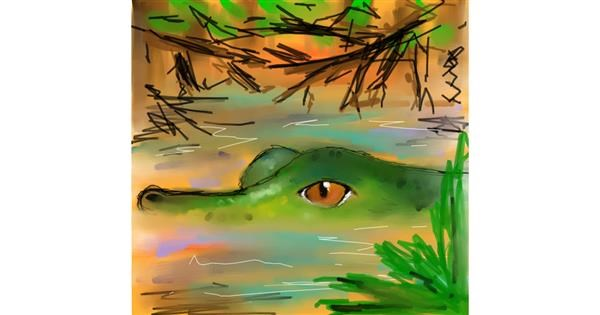 Alligator drawing by Sufi