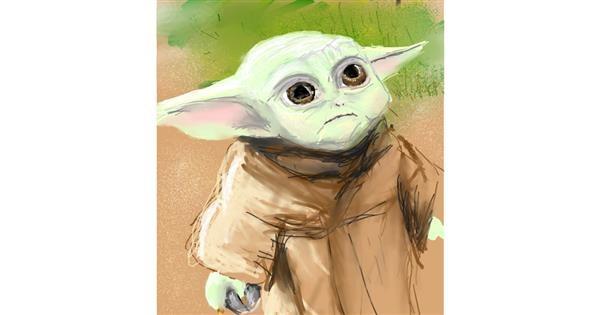 Baby Yoda drawing by Muni