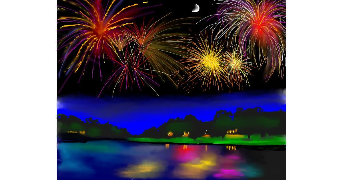 Fireworks drawing by Cec