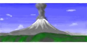 Drawing of Volcano by Pinky