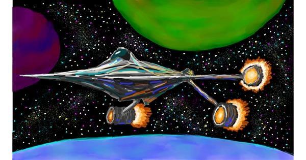 Spaceship drawing by Sam