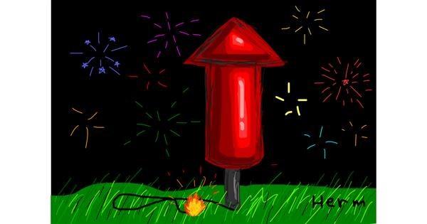 Fireworks drawing by Bigoldmanwithglasses