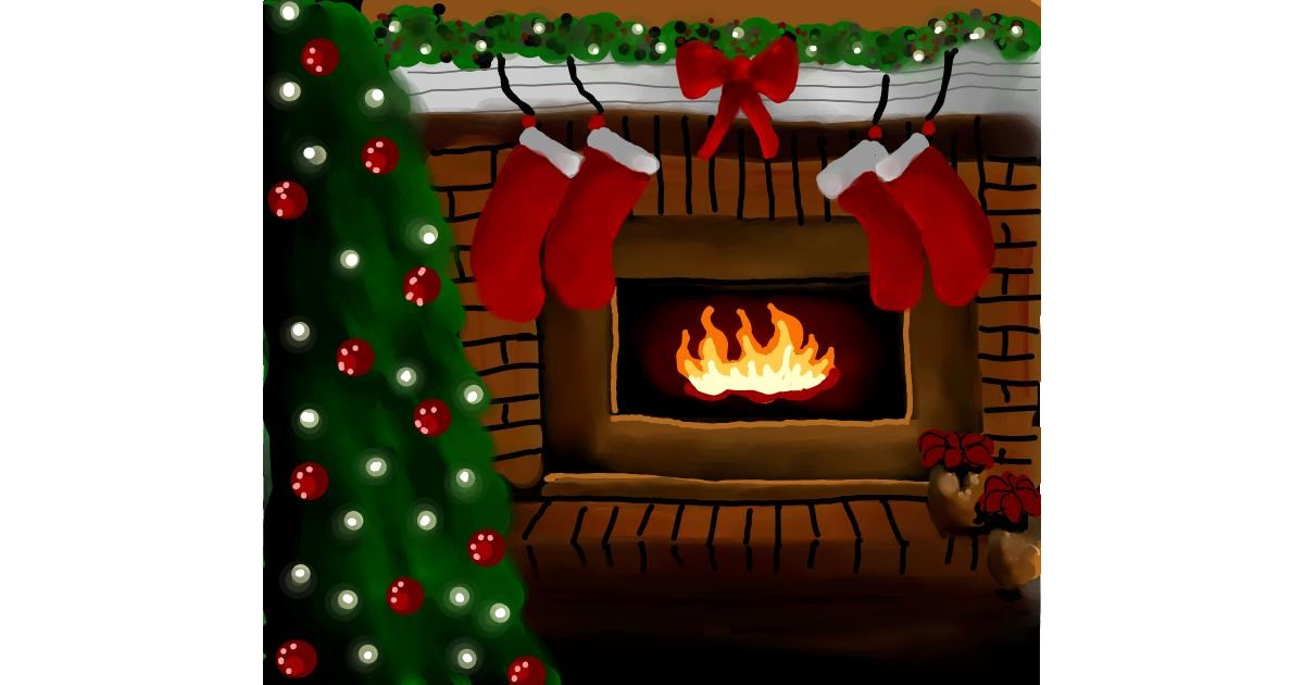 Fireplace drawing by Joze