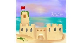 Drawing of Sand castle by Iris