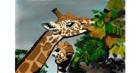 Giraffe drawing by VinnievanG