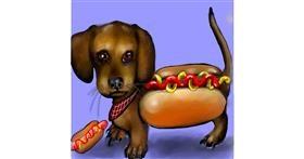 Drawing of Hotdog by Leah