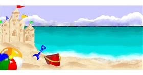 Drawing of Sand castle by Debidolittle